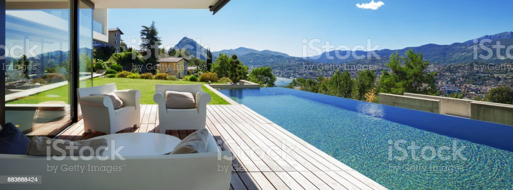 Pool and modern house stock photo