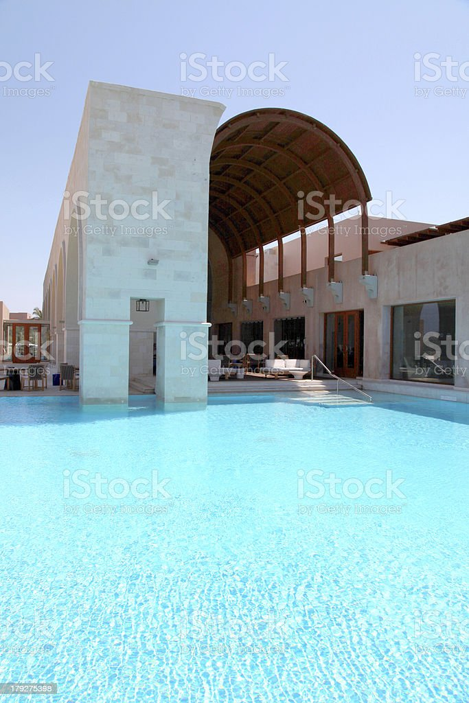 pool and terrace on summer resort (Greece) royalty-free stock photo