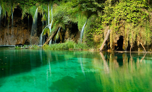 pool and waterfalls in plitvice lakes in croatia - plitvice lakes stockfoto's en -beelden