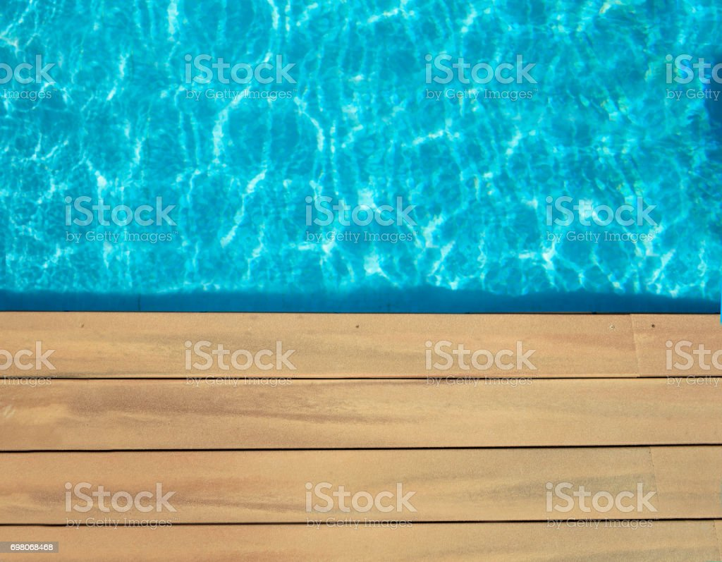 pool and wooden stock photo
