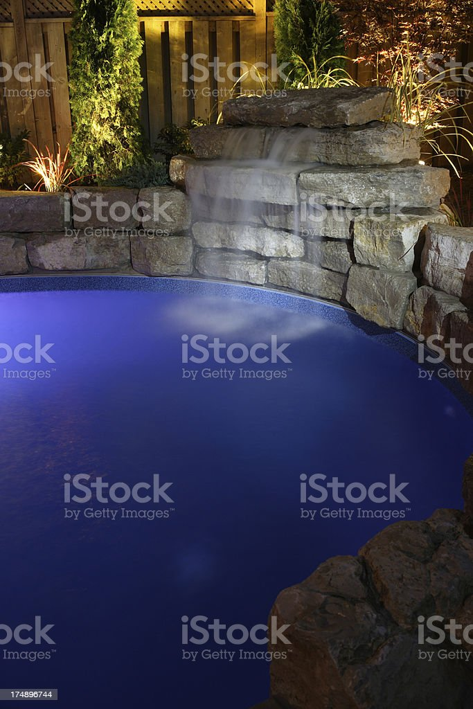 Pool at Night royalty-free stock photo