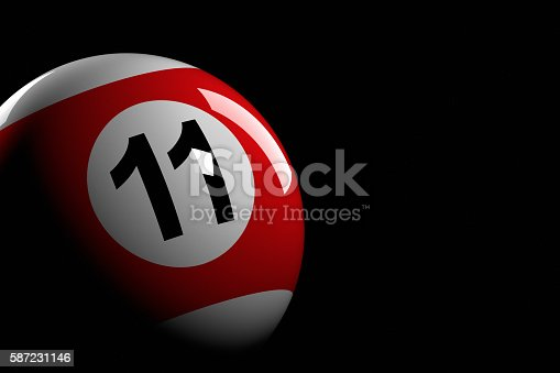 istock Pool Ball Number 11, 3D Rendering 587231146