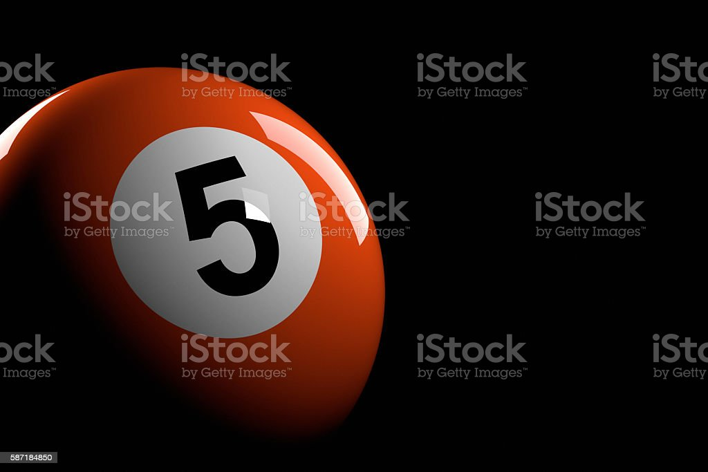 Pool Ball Number 5, 3D Rendering stock photo