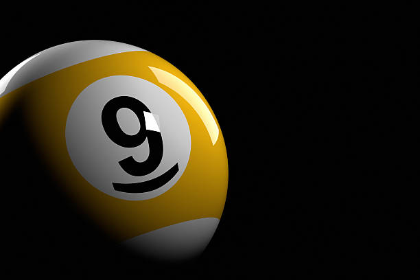 Pool Ball Number 9 3D Rendering Stock Photo