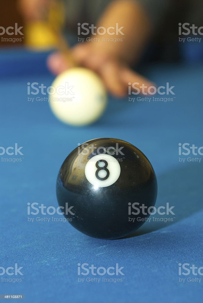 Pool ball with the white cue ball