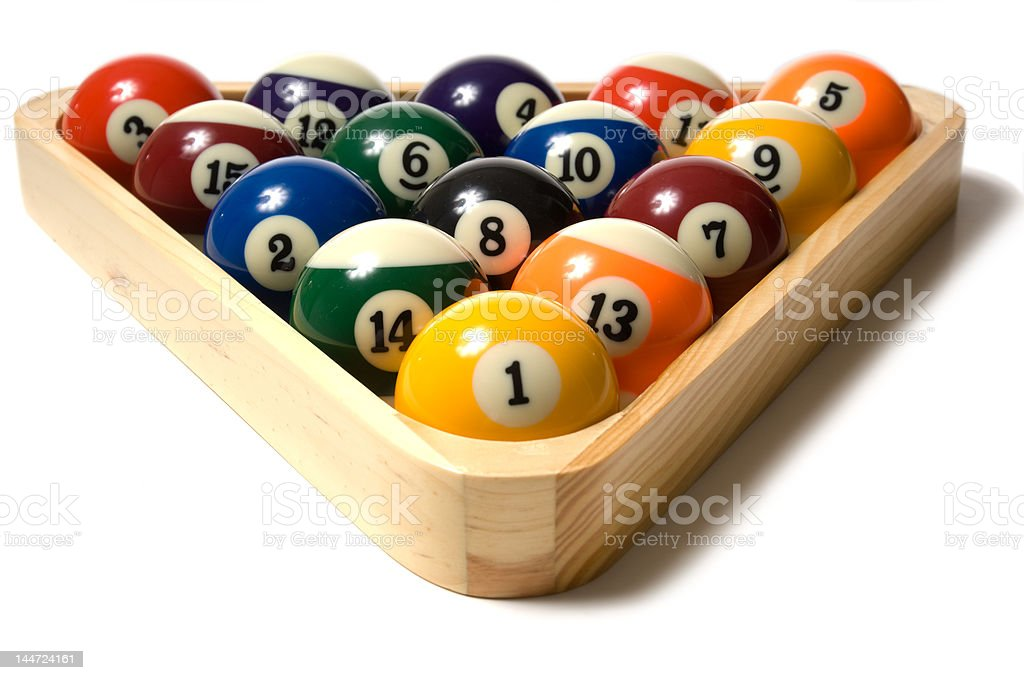 Pool balls in Rack royalty-free stock photo