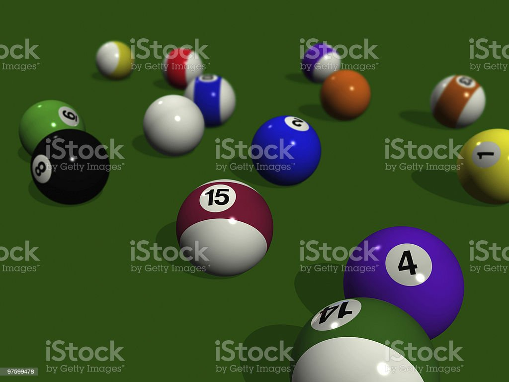 pool balls on a green billiard table royalty-free stock photo