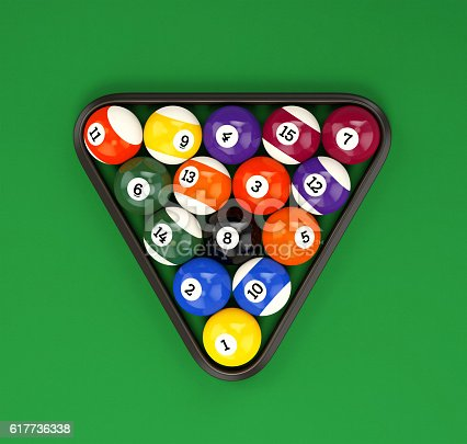 istock Pool balls pyramid on green cloth 617736338