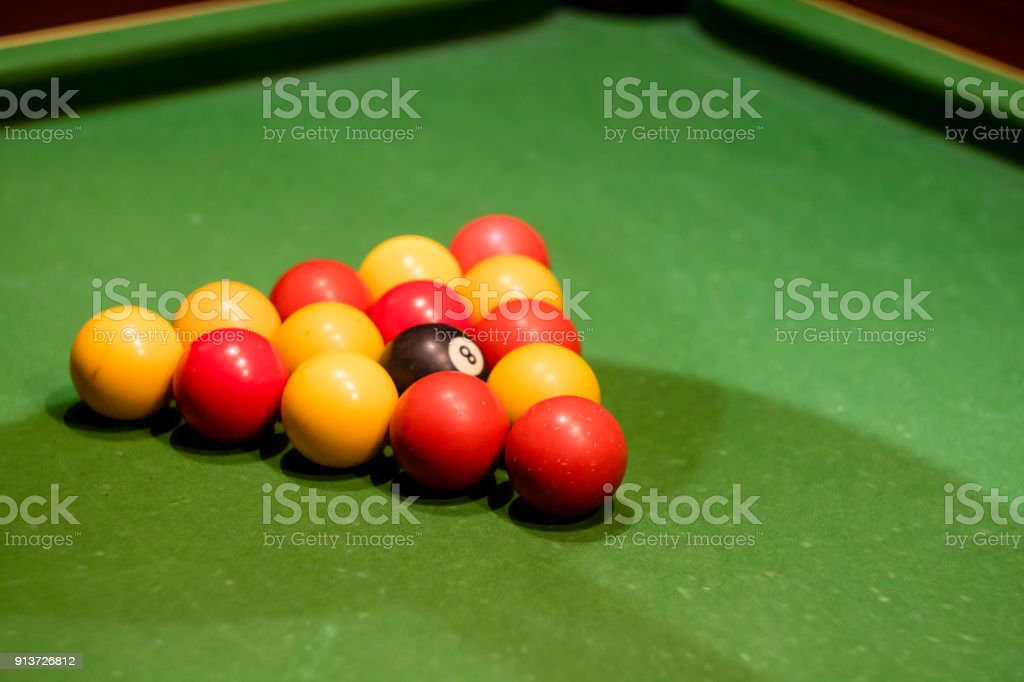Pool balls set up on a pool table taken at an angle royalty-free & Pool Balls Set Up On A Pool Table Taken At An Angle Stock Photo ...
