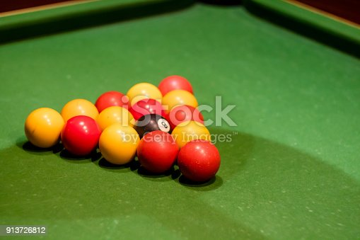 Pool Balls Set Up On A Pool Table Taken At An Angle Stock Photo - How to set up a pool table