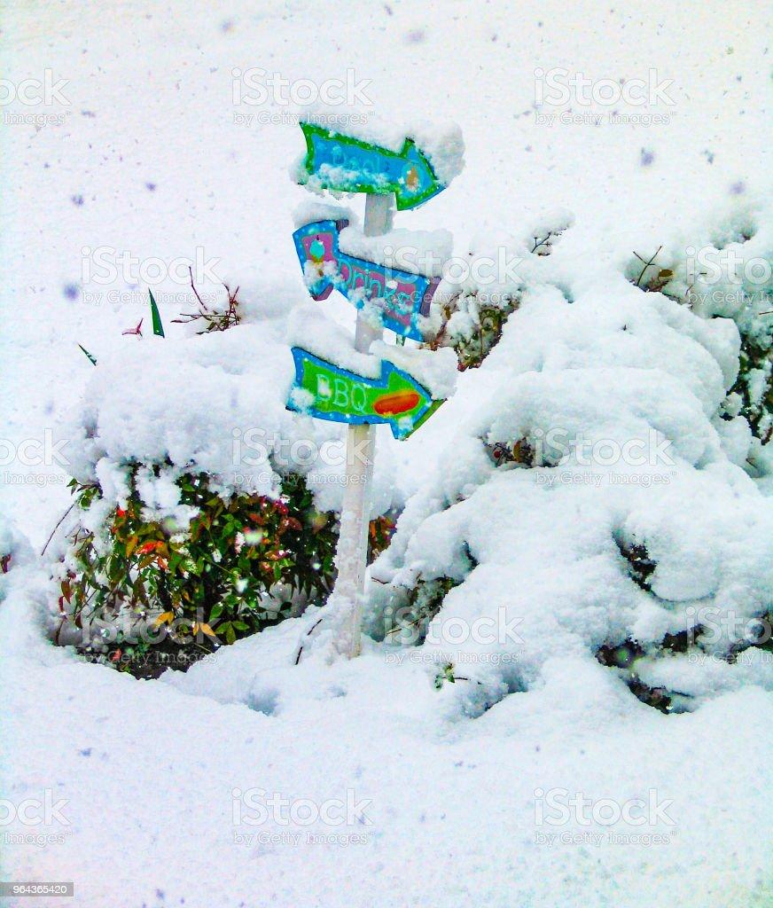 Zwembad barbecue en de drankjes mini wegwijzer bedekt met sneeuw met meer sneeuw naar beneden - Royalty-free Barbecue - Maaltijd Stockfoto