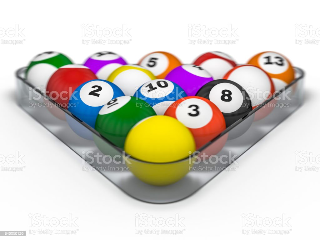 rendering billiard photo in pool position stock starting table balls