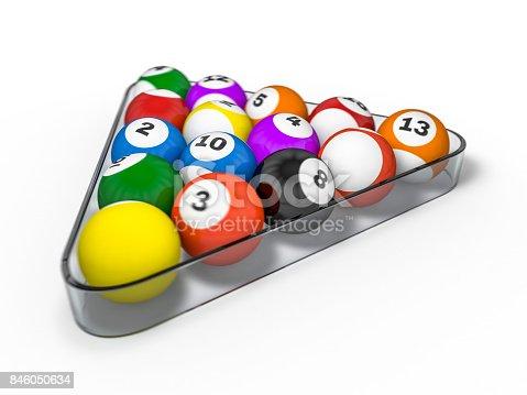 istock Pool billiard balls in starting position. 3D rendering 846050634