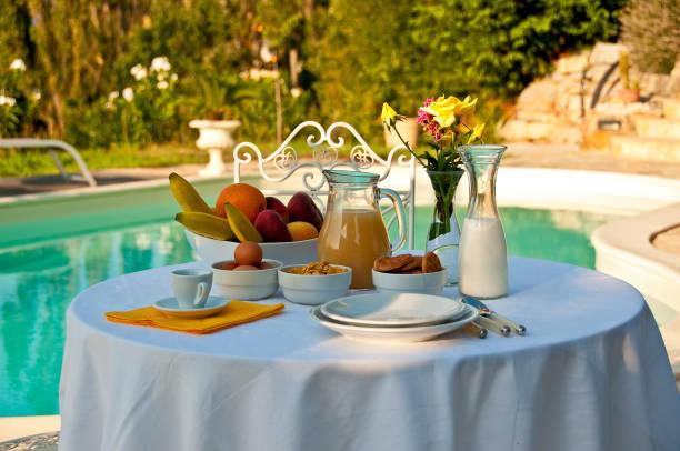 Pool breakfast stock photo