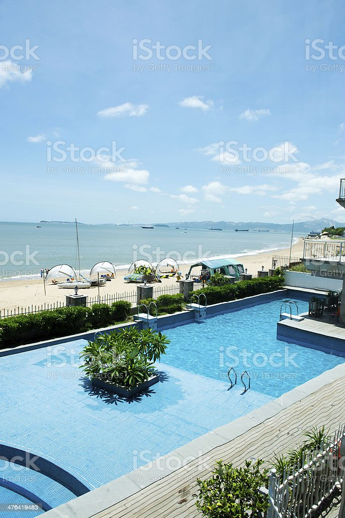 pool by the sea royalty-free stock photo
