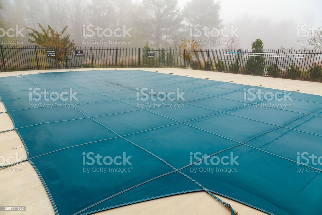 Pool Cover in Fog stock photo
