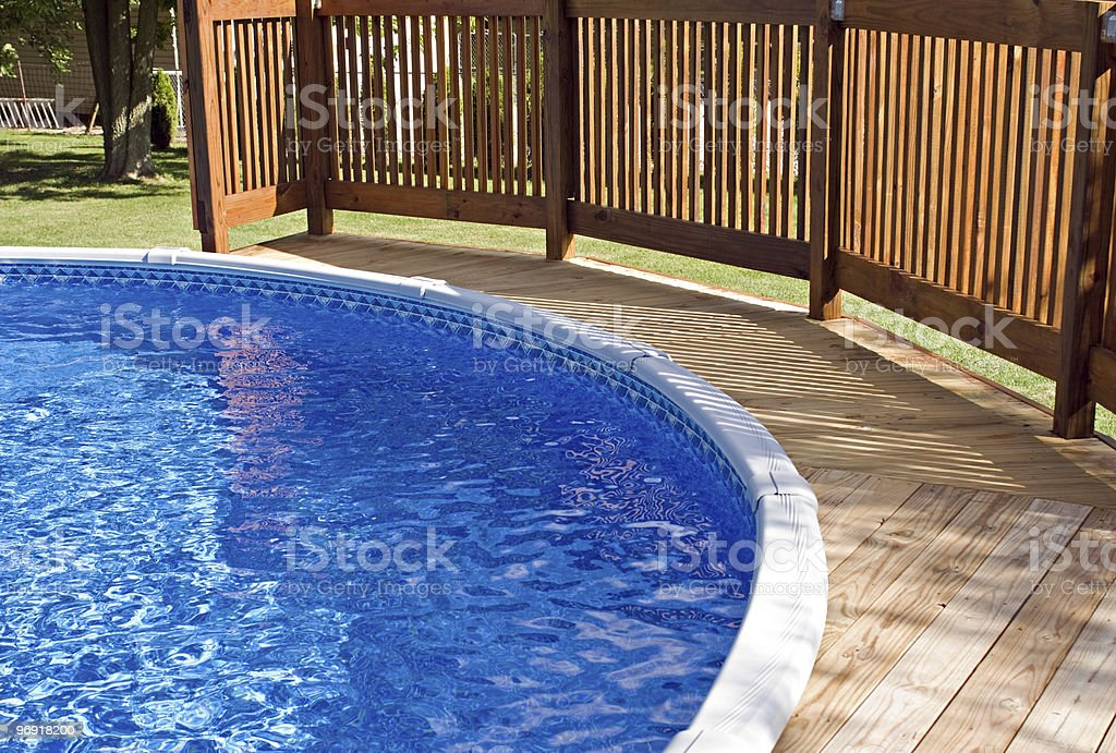 Pool Deck and Railing royalty-free stock photo