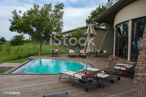 Johannesburg, South Africa - January 20, 2019: Pool deck at the Maropeng Boutique Hotel at the Cradle of Humankind, just outside of Johannesburg in Gauteng