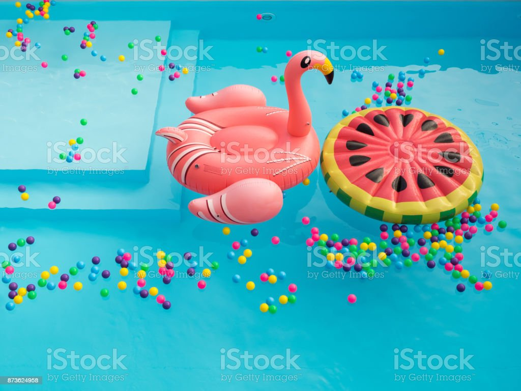 Pool Floaties colorful stock photo