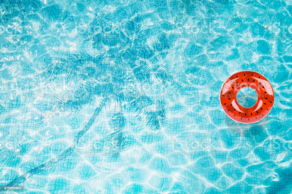 Pool Floats Rings Floating In A Refreshing Blue Swimming Pool With Palm  Tree Leaf Shadows In Water Stock Photo - Download Image Now