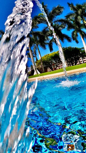 pool fountain at the pool - maui, hi samuel howell stock pictures, royalty-free photos & images
