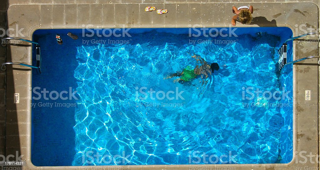 Pool from above stock photo
