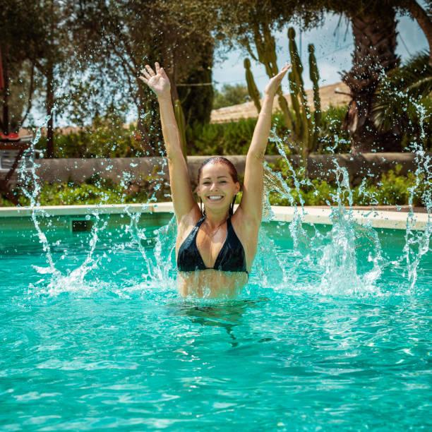 pool fun stock photo