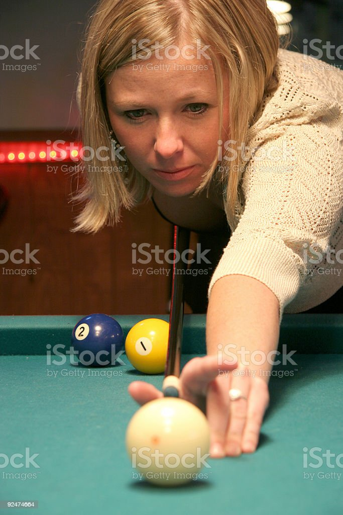 Pool Hall Series: Concentration. royalty-free stock photo