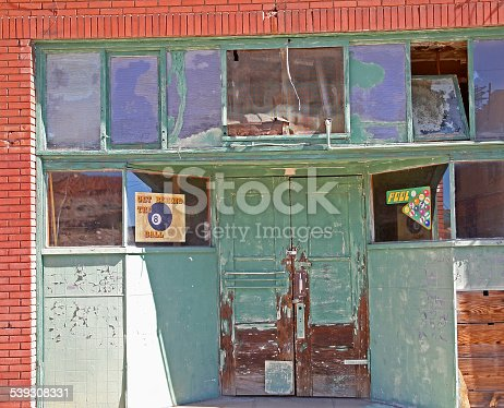 Old Abandoned Pool Hall in Bisbee Arizona. 1950's -1960's era.