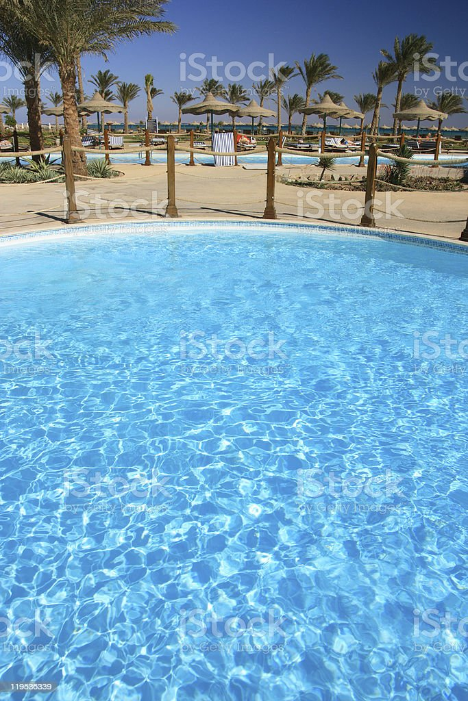 Pool in the beautiful tropical park, Egypt, Sharm al-Sheikh. royalty-free stock photo
