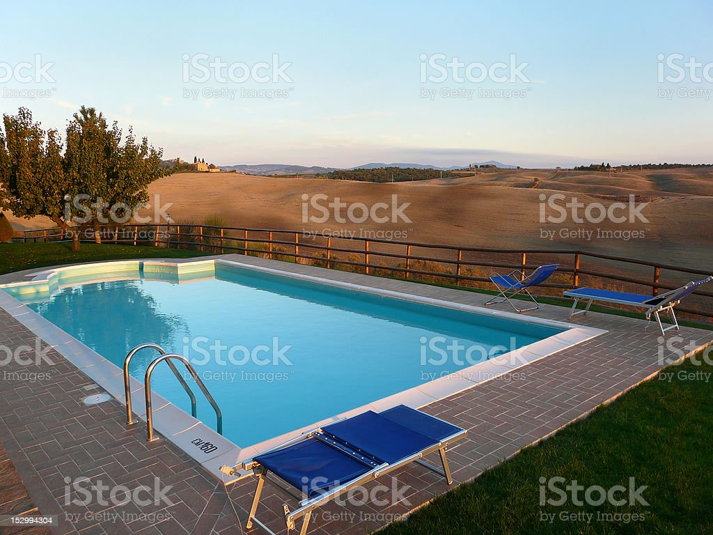Pool in Tuscany royalty-free stock photo