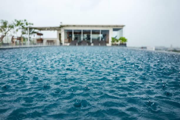 Pool in Yogyakarta during rain stock photo