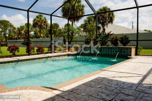 Pool lanai with screen enclosure stock photo more for Pool lanai cost