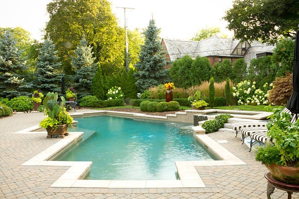 Pool Landscape Pool and landscapeing backyard pool stock pictures, royalty-free photos & images