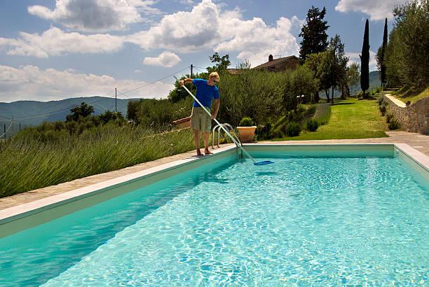 Pool maintenance stock photo