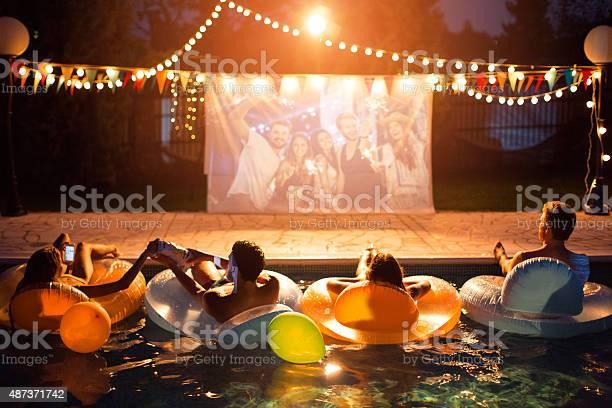 Photo of Pool movie night party.