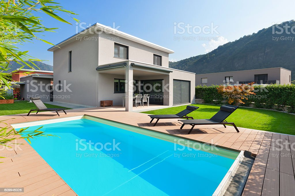 pool of a modern house stock photo