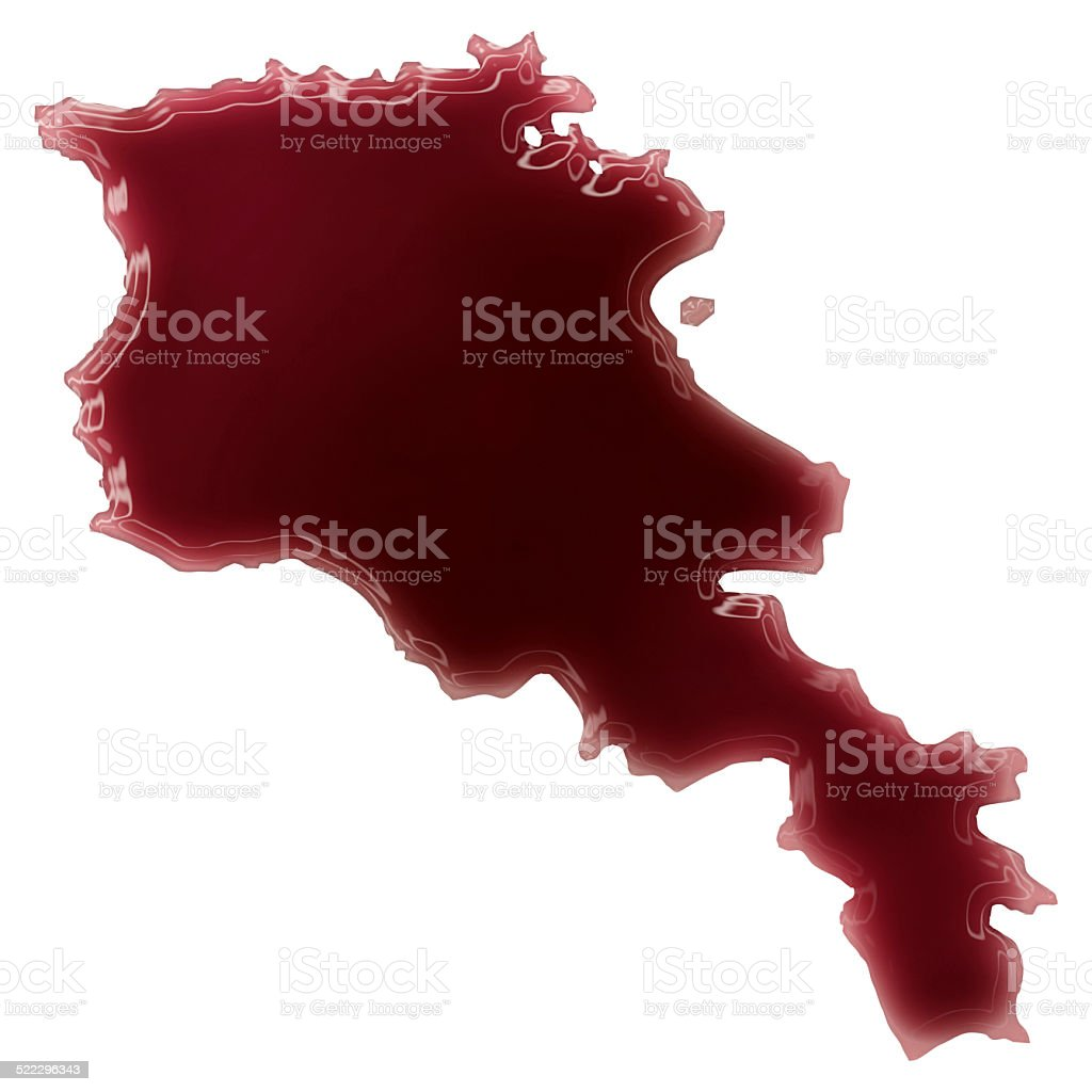 Pool of blood (or wine) shaping Armenia.(series) stock photo
