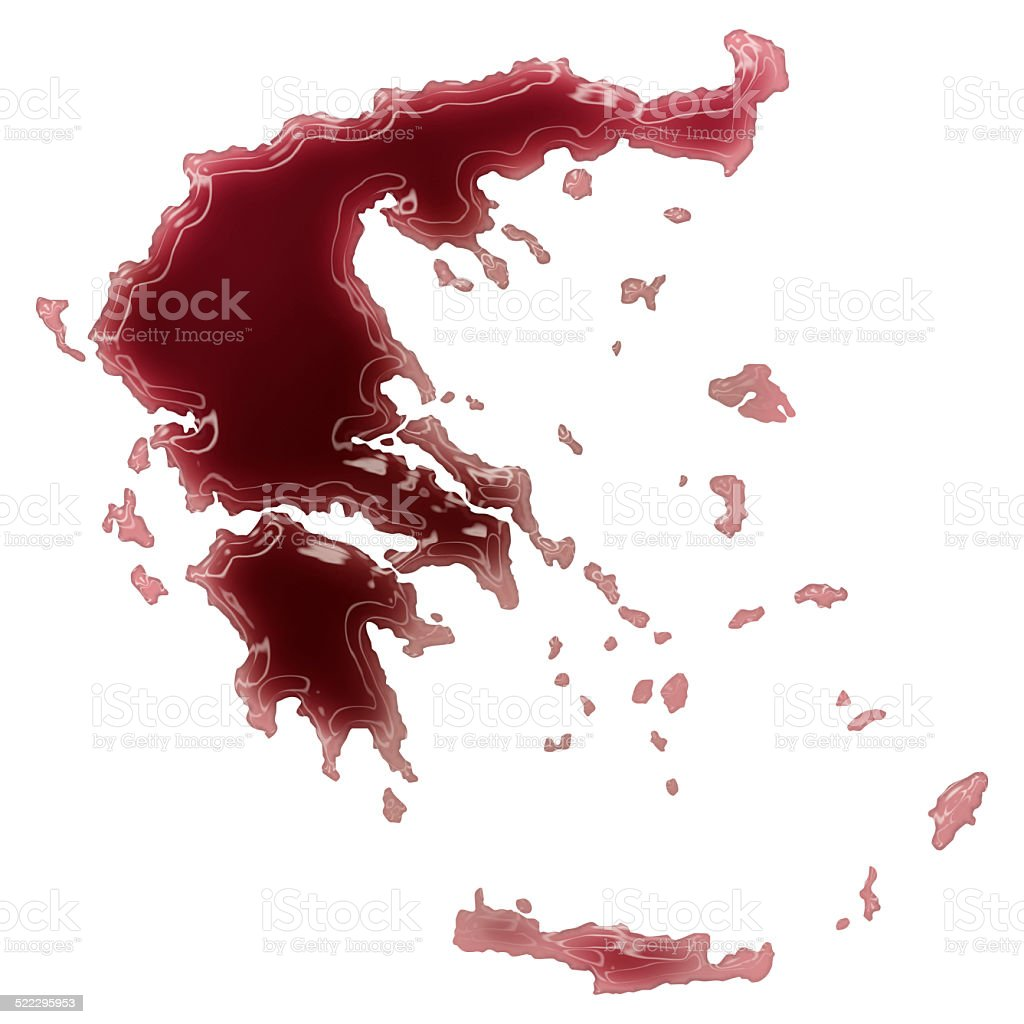 Pool of blood (or wine) shaping Greece.(series) stock photo