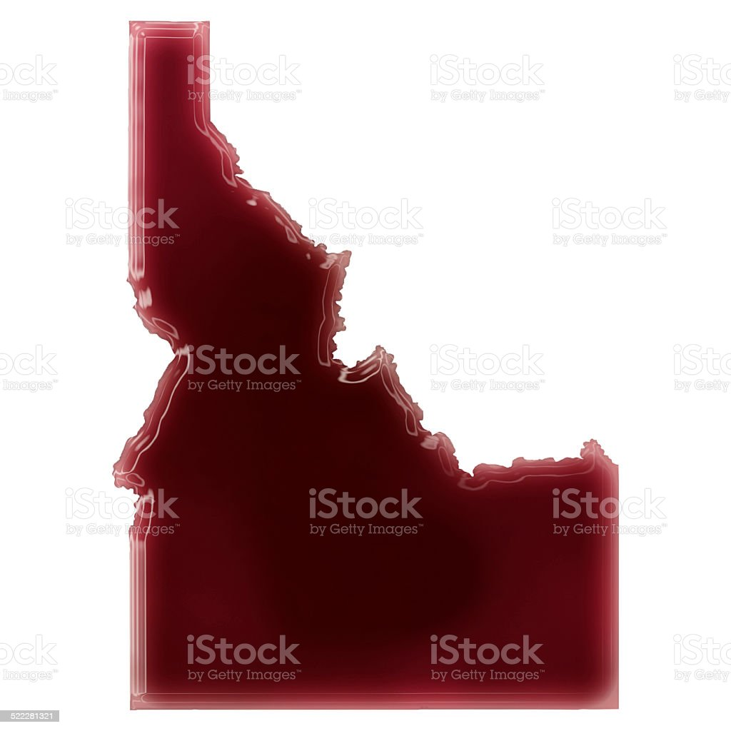 Pool of blood (or wine) shaping Idaho.(series) stock photo
