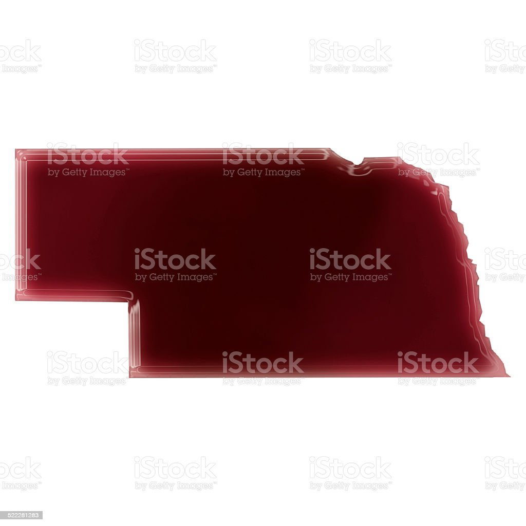 Pool of blood (or wine) shaping Nebraska.(series) stock photo