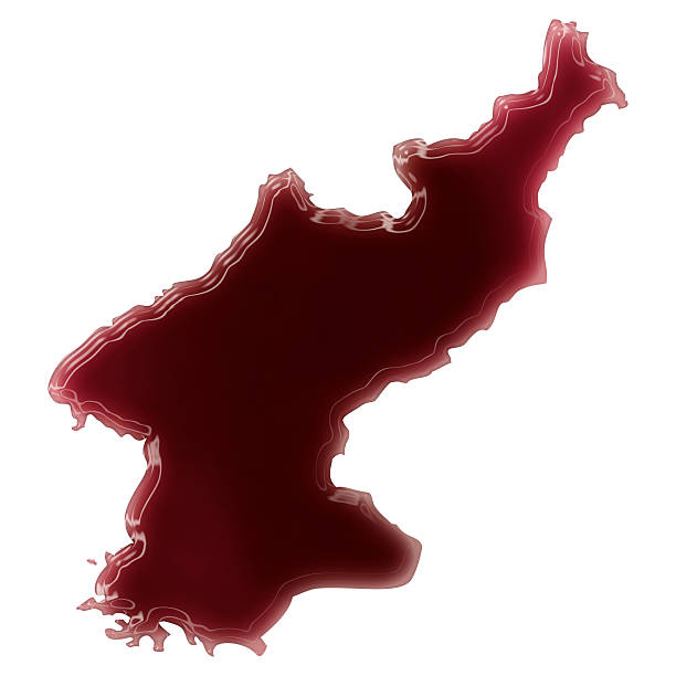 Pool of blood (or wine) shaping North Korea.(series) stock photo