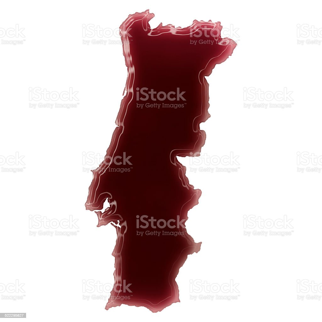 Pool of blood (or wine) shaping Portugal.(series) stock photo