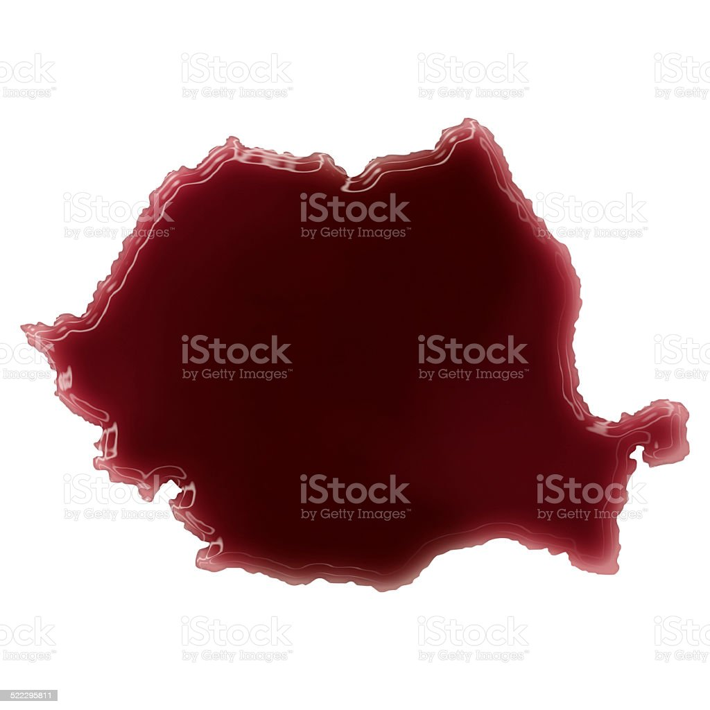 Pool of blood (or wine) shaping Romania.(series) stock photo