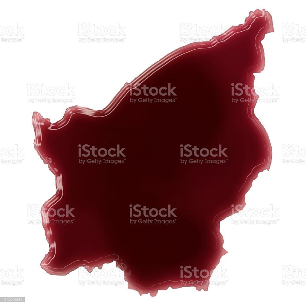 Pool of blood (or wine) shaping San Marino.(series) stock photo