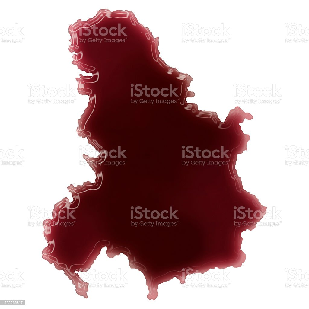 Pool of blood (or wine) shaping Serbia Montenegro.(series) stock photo