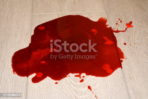 535193210 istock photo Pool of red blood in floor crime scene 1213296470