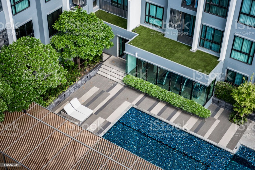 Pool of the condominium. stock photo