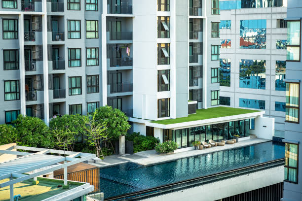Pool of the condominium. stock photo