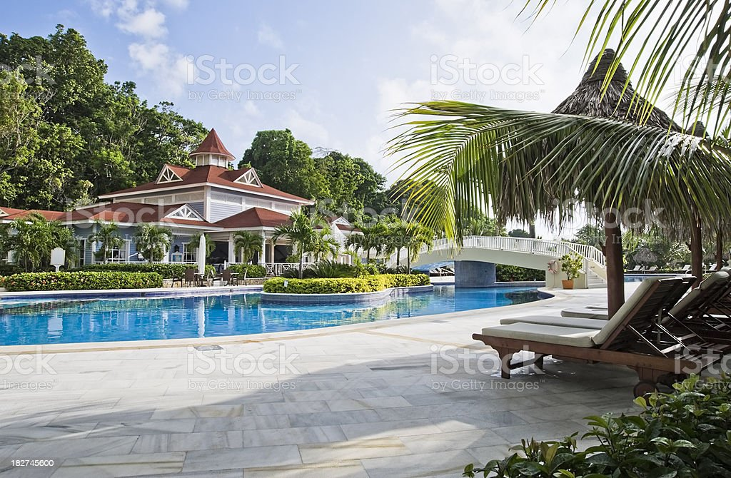 Pool on resort stock photo